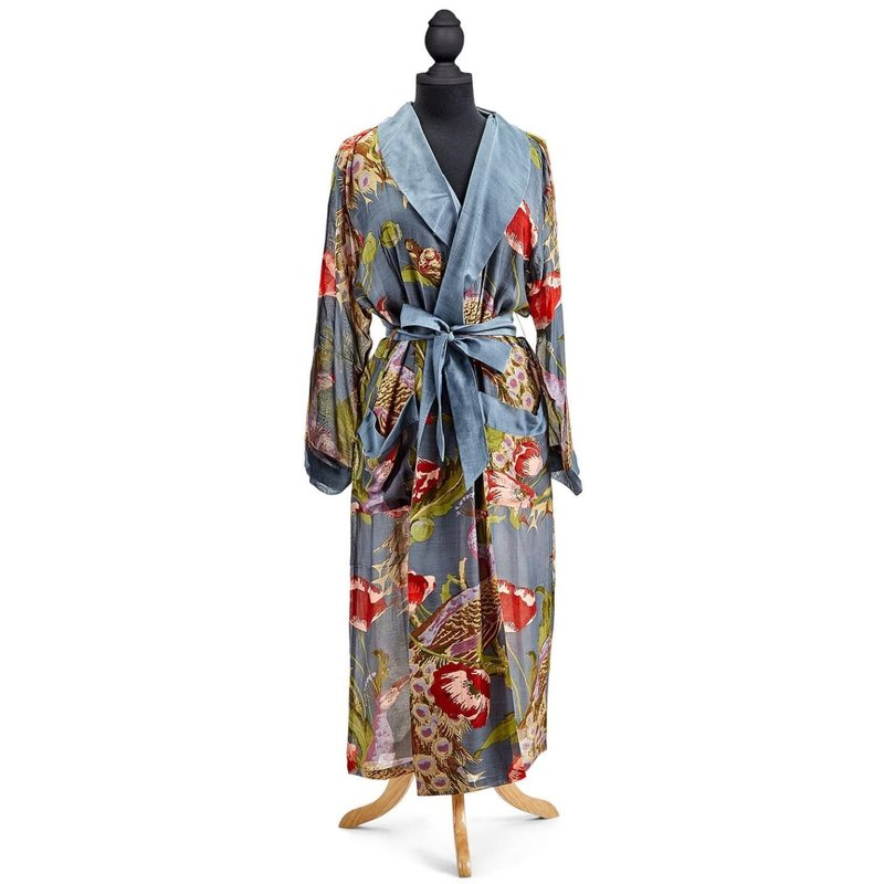 Two's Company Poppies and Peacocks Robe Gown One Size