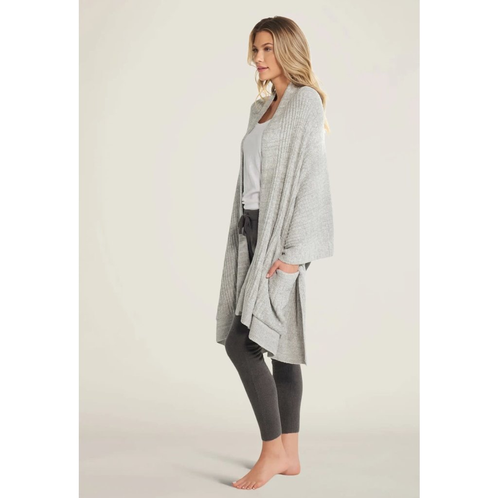 Barefoot Dreams Cozy Chic Lite Heathered Travel Shawl Pewter/Pearl