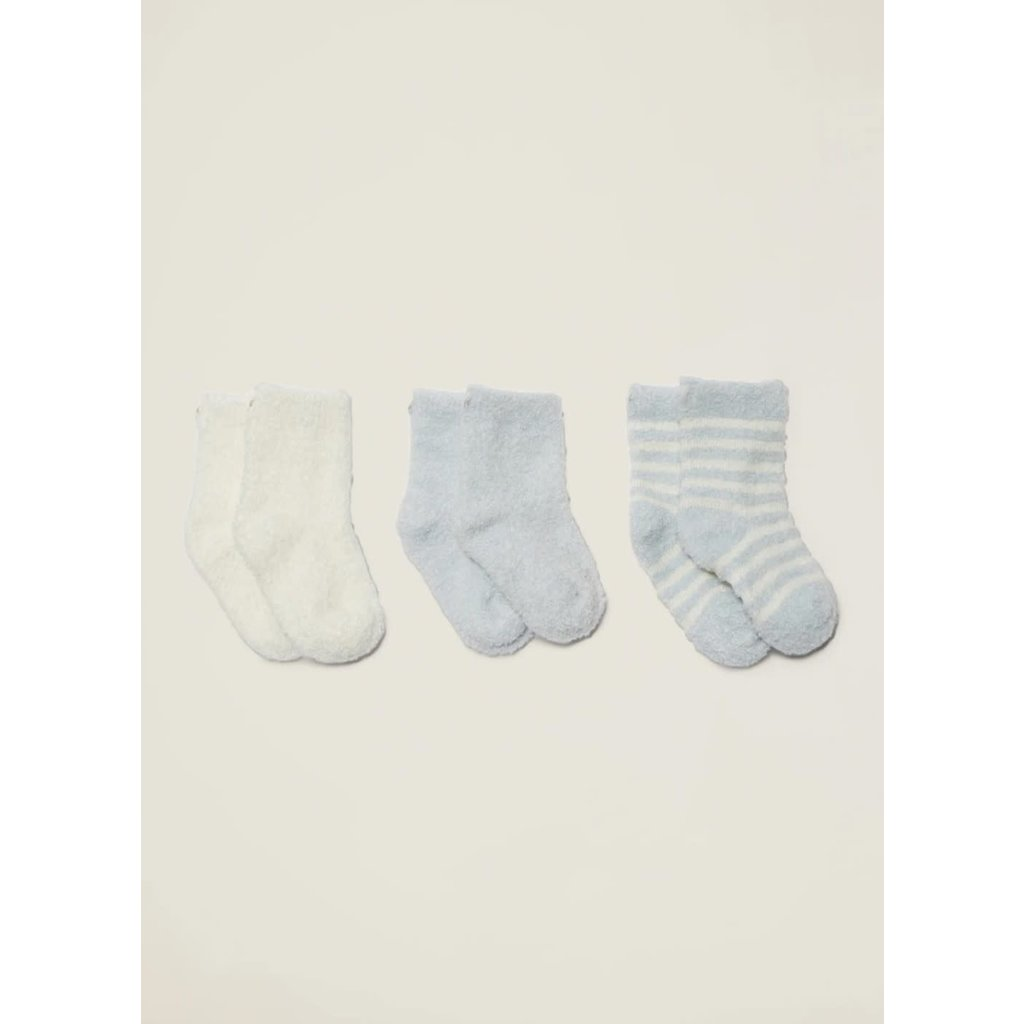 Barefoot Dreams Cozy Chic Lite Infant Socks 3-pack Blue-Pearl