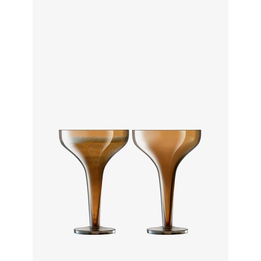 LSA Epoque Champagne Saucer 5 oz. Amber (Set of 2)