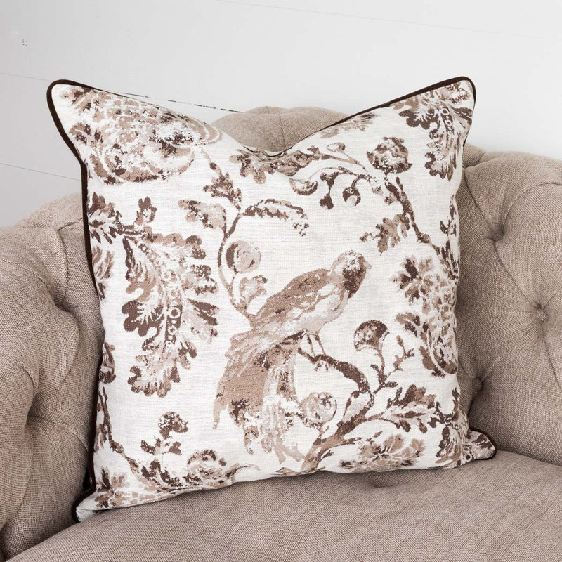 Park Hill Brown Down Filled Bird Toile Pillow