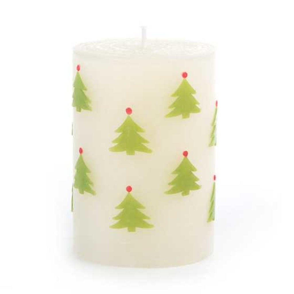 Patience Brewster by Makenzie Childs Christmas Tree Pillar Candle Pillar Candle - 4 - Red & Green
