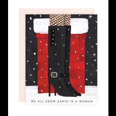 Girl w/ Knife Santa is a Woman Card