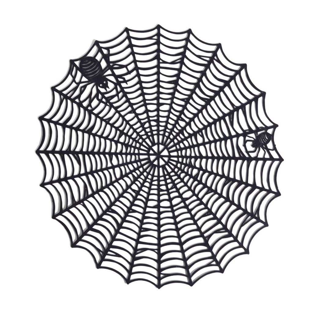 """Two's Company """"Oh What a Tangled Web"""" Spider Placemats S/6"""