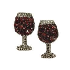 Allie Beads Allie Beads Red Wine Glass Earrings