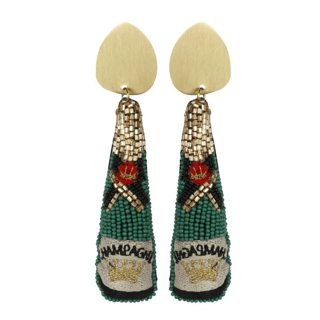 Allie Beads Allie Beads Green Champagne Earrings