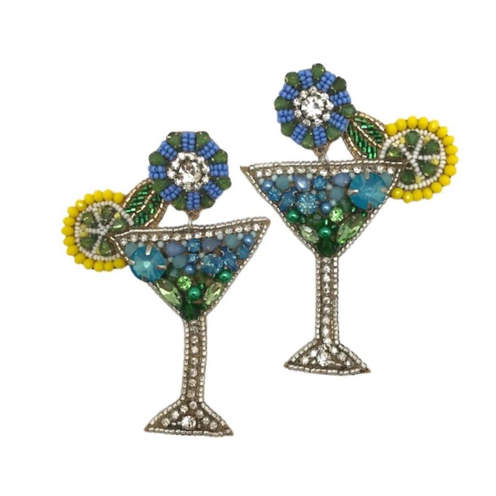 Allie Beads Allie Beads Blue Lemonade Martini Earrings