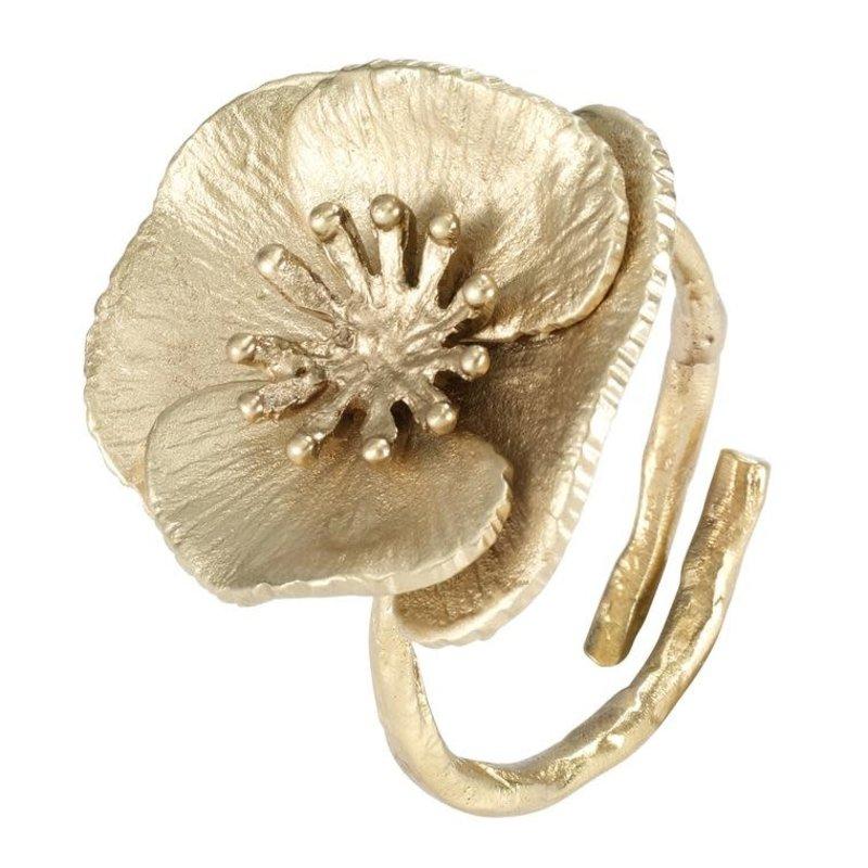 Bodrum Poppy Flower Gold Napkin Ring Set of 4