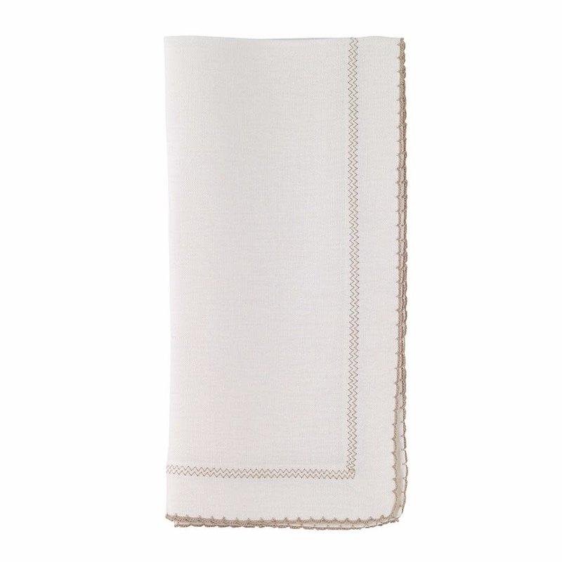 Bodrum Picot White/Beige 22' Napkin Set of 4