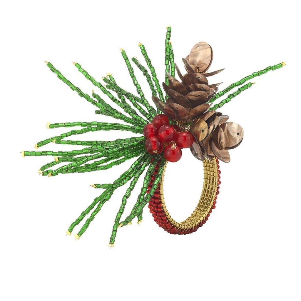 Bodrum Acorn Pine Napkin Ring Set of 4