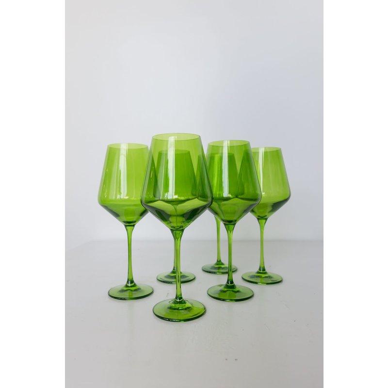 Estelle Estelle Colored Wine Stemware - Forest Green Set of 6