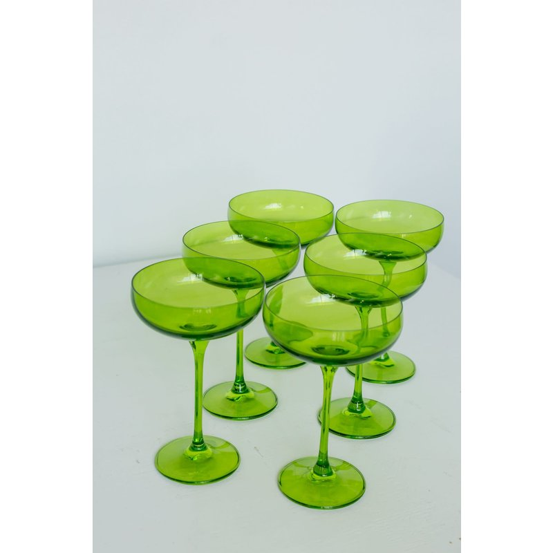 Estelle Estelle Colored Champage Coupe- Forest Green Set of 6