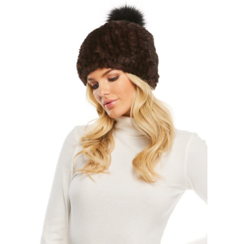 Fabulous Furs Knitted Fur Pom Hat Black/Whiskey