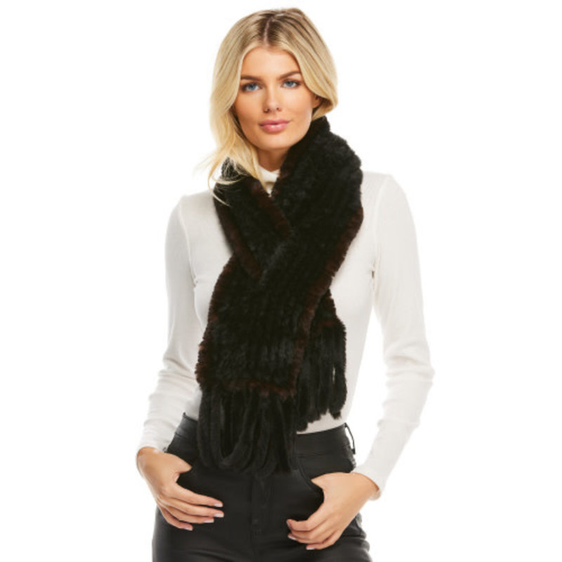 Fabulous Furs Knitted Fur Fringe Scarf Black/Whiskey