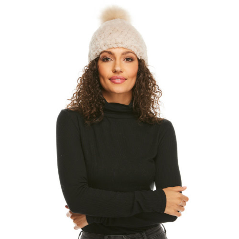 Fabulous Furs Knitted Fur Pom Hat Sand
