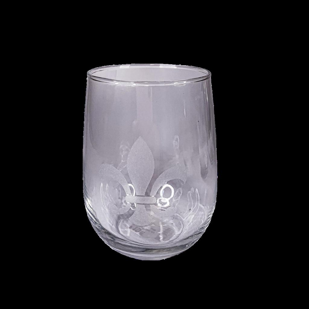 Leonard Etched Fleur de Lis Wine Glass