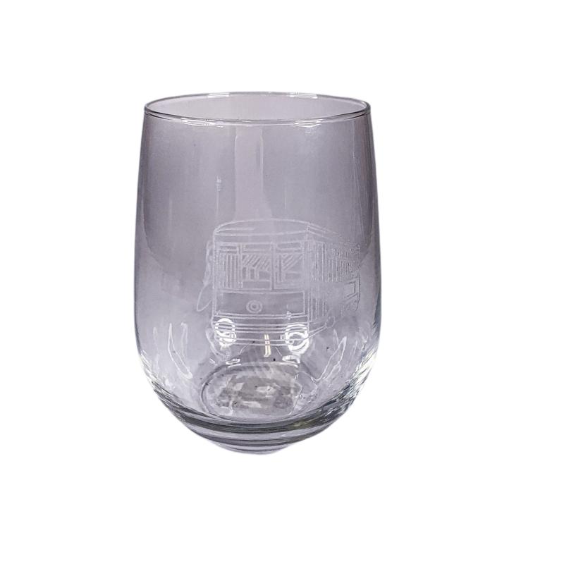 Leonard Etched Streetcar Wine Glass