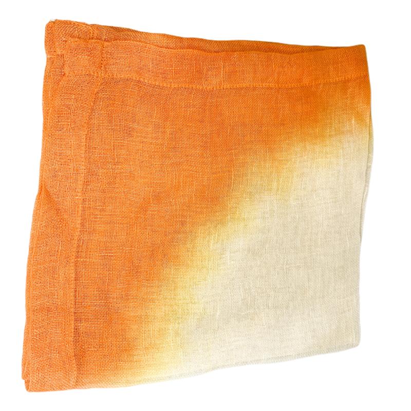 Abigails Tie-Dye Tangerine Linen Napkin