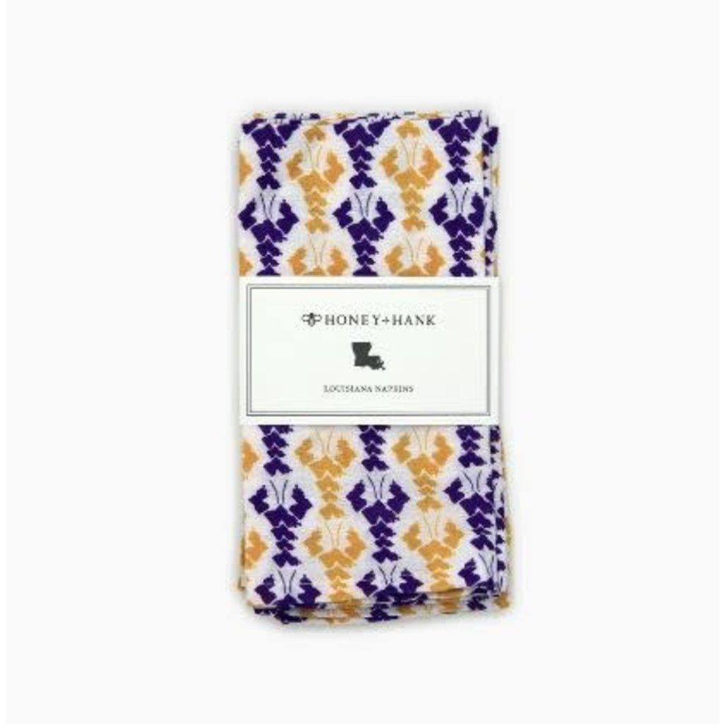 Honey and Hank Louisiana Crawfish Napkins Purple/Gold Set of 4