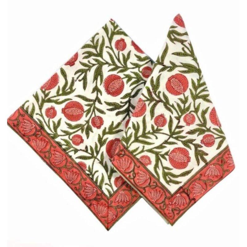 Pacific & Rose Textiles Pomegranate Napkins 20''x 20'' Set of 4