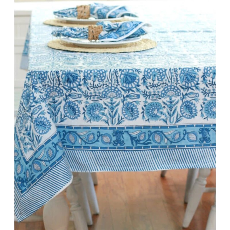 Pacific & Rose Textiles Caroline Blue Tablecloth 60''x92''