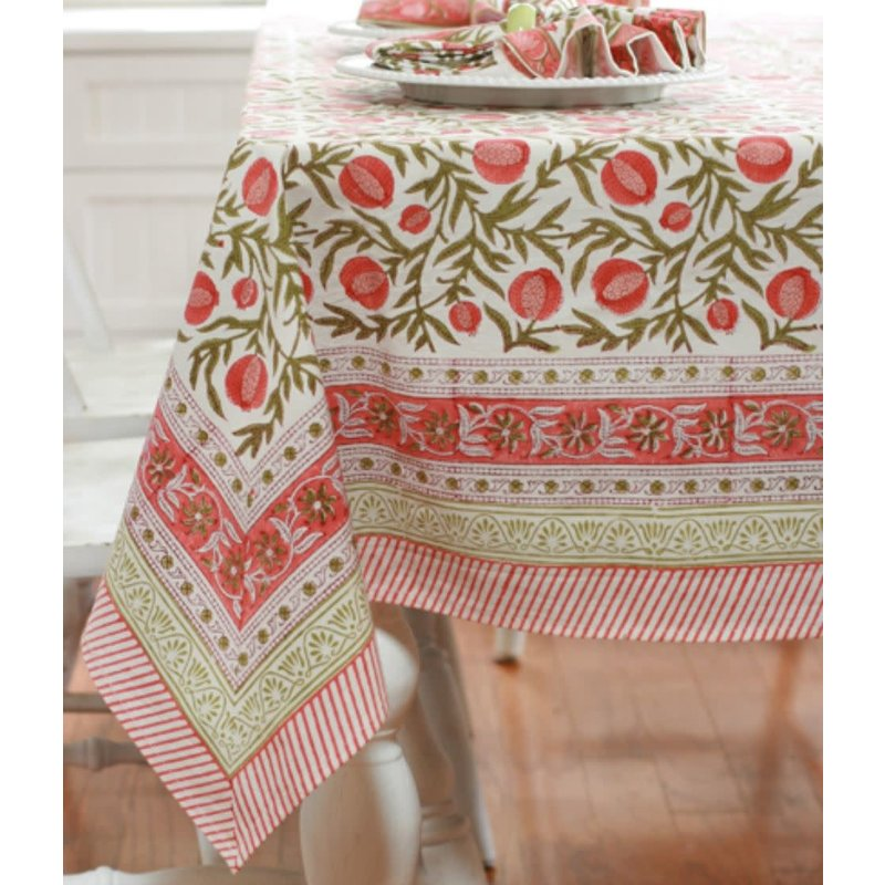 Pacific & Rose Textiles Pomegranate Tablecloth 60''x60''