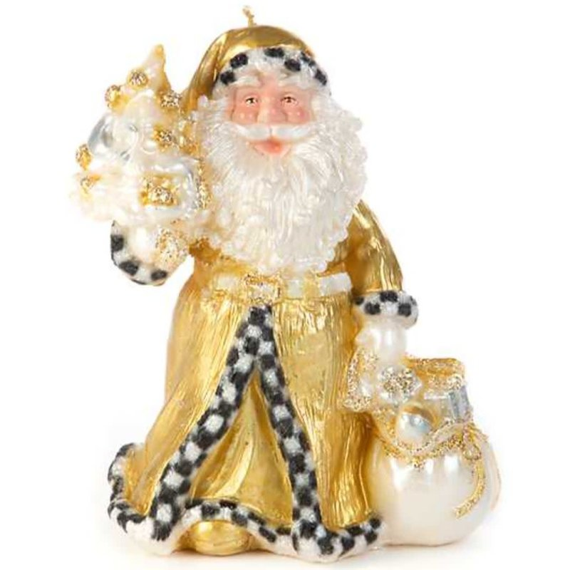 Patience Brewster by Makenzie Childs Night Before Chirstmas Santa Candle- Gold