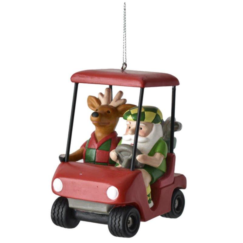 Ganz Santa & Reindeer Golf Cart Ornament