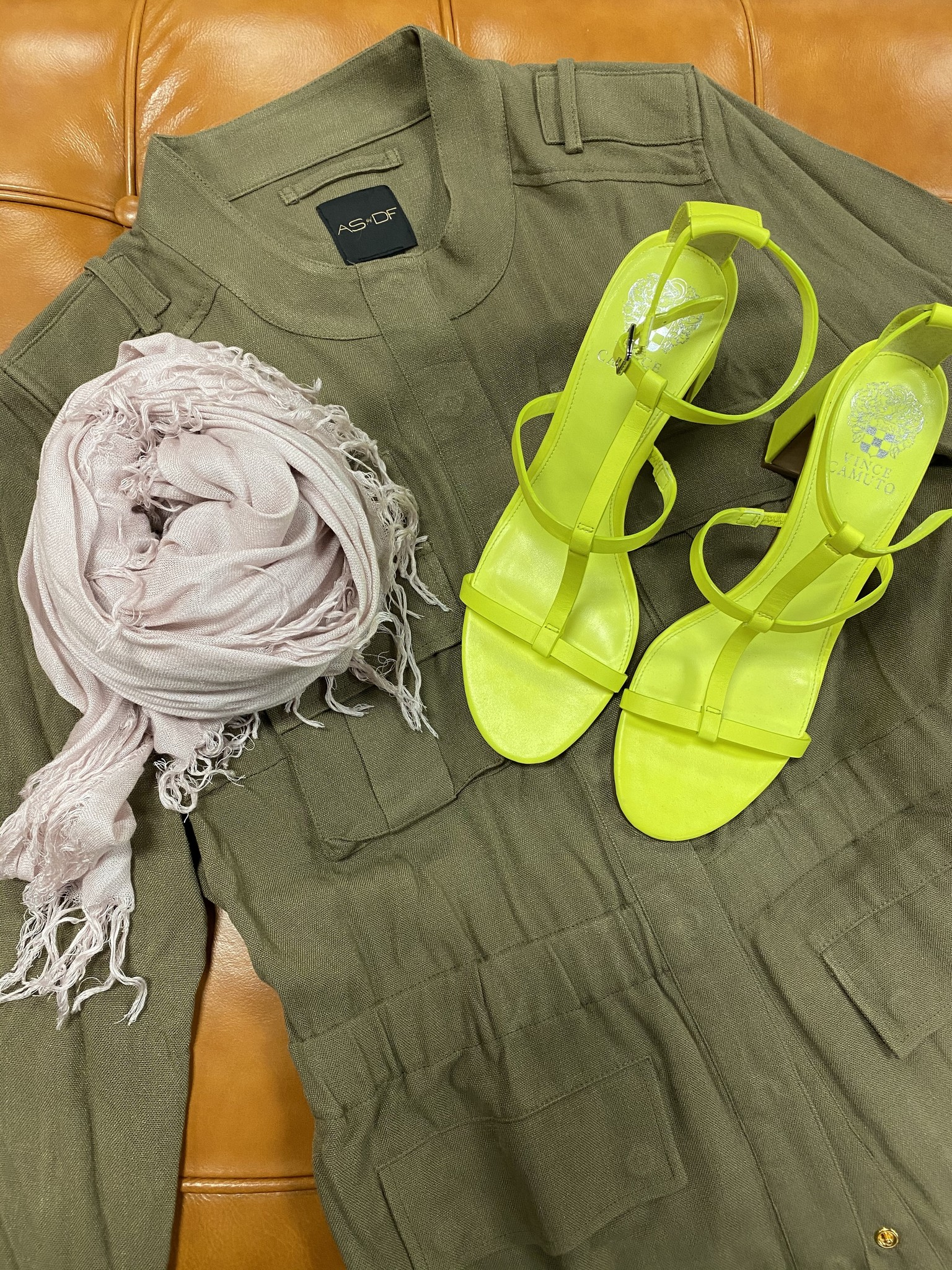 AS by DF military jacket with neon strappy sandals and a pale pink scarf