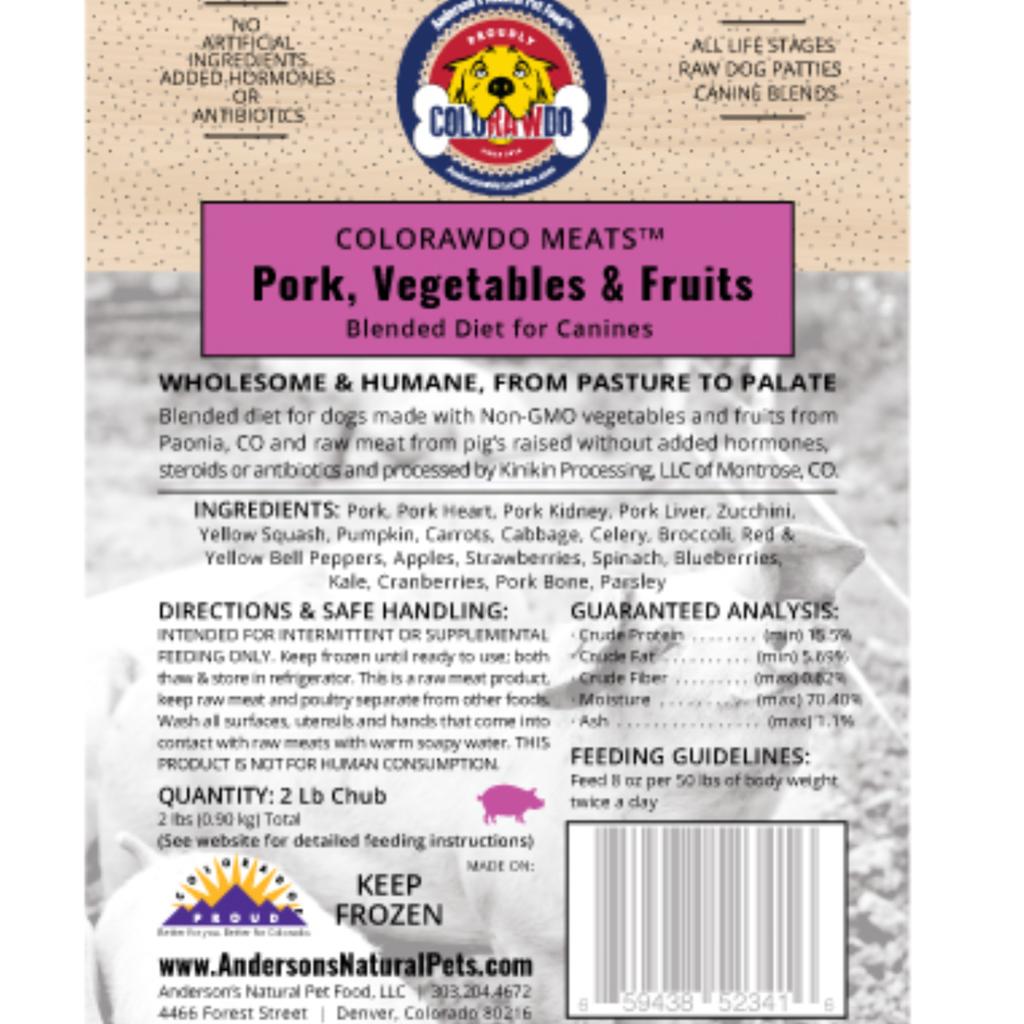 Anderson's Natural Pet Food Frozen ColoRAWdo Meats Pork 8oz 6lbs