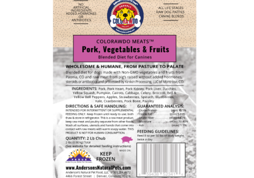 Anderson's Natural Pet Food ColoRAWdo Meats Pork 8oz 6#
