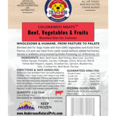Anderson's Natural Pet Food Frozen ColoRAWdo Beef Bulk 20lbs