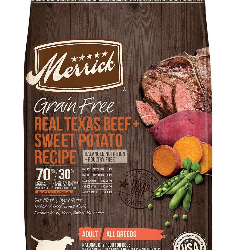 Merrick Merrick Grain Free Real Texas Beef & Sweet Potato Recipe Dog Food 22lbs