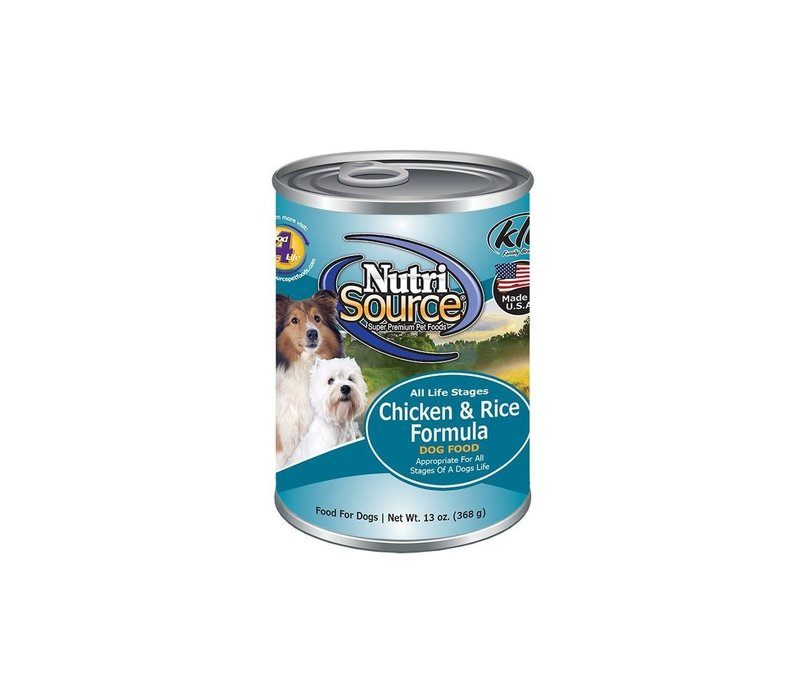 NutriSource Chicken & Rice Formula for Dogs 13 oz