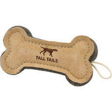 Tall Tails Dog Bone Tug Natural Leather 6 inches