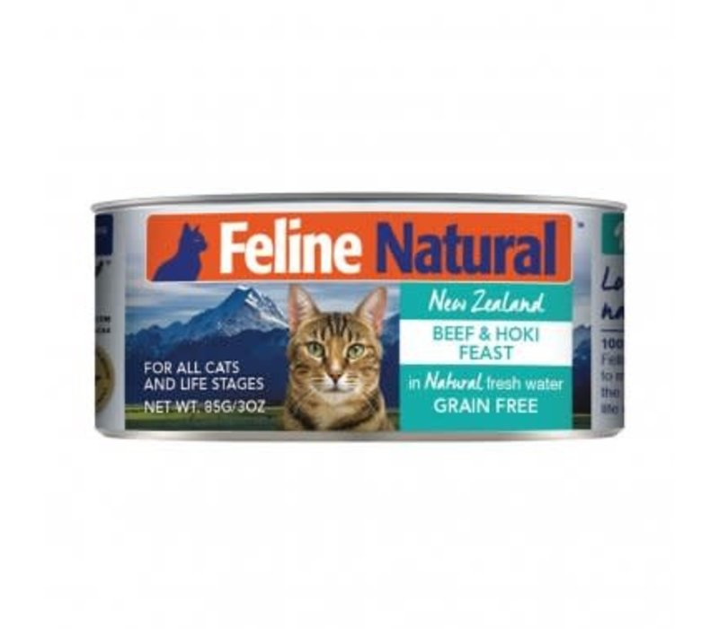 Feline Natural Grain Free Beef and Hoki Feast Canned Cat food 3oz