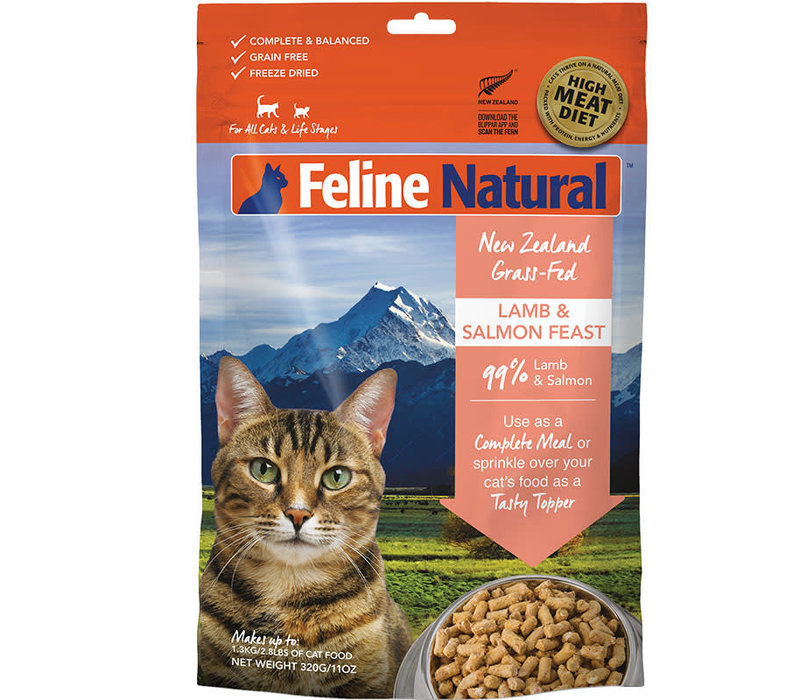 Feline Natural Grain Free Lamb and King Salmon Feast Freeze Dried Cat Food 3.5oz