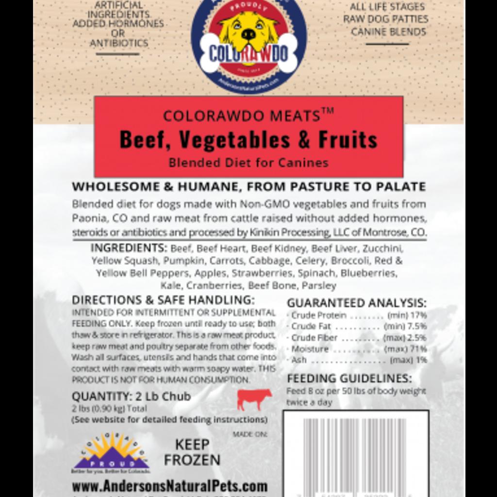 Anderson's Natural Pet Food Frozen ColoRAWdo Meats Beef 8oz 6lbs