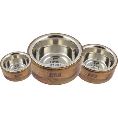 Tall Tails Dog Stainless Steel Bowl Wood 3 Cup