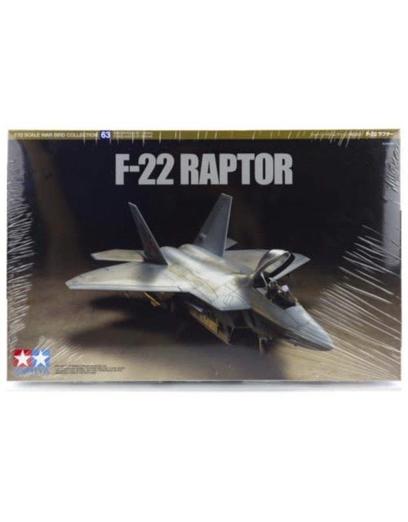 Tamiya 60763 1/72 F-22 Raptor Jet Plastic Model Airplane Kit