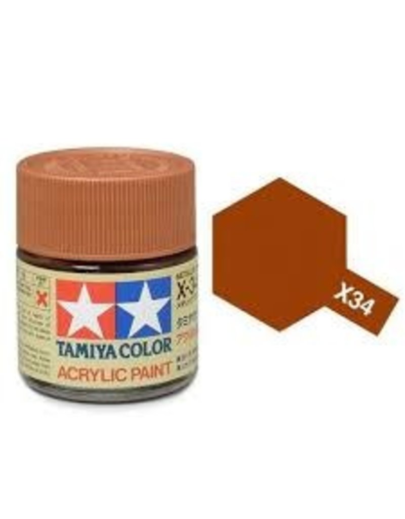 Tamiya Tamiya X-34 Metallic Brown Gloss Acrylic Paint 10ml