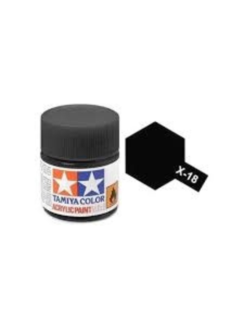 Tamiya Tamiya X-18 Semi-Gloss Black Gloss Acrylic Paint 10ml