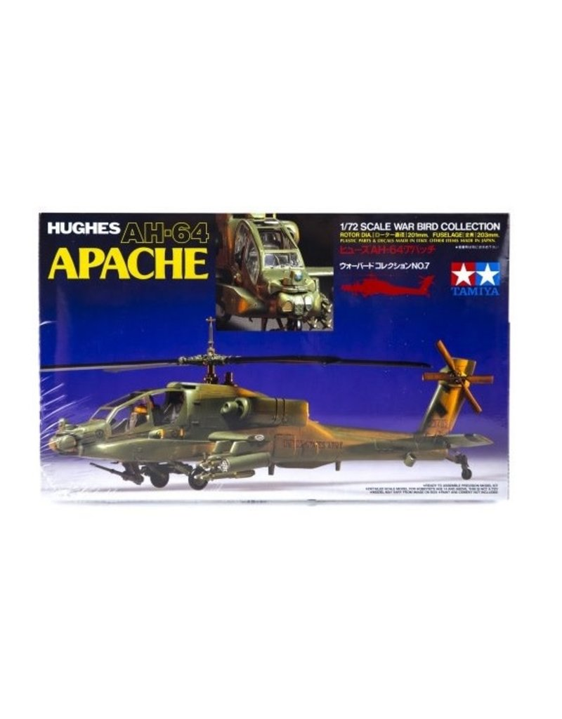 Tamiya Tamiya 1/72 Hughes AH-64 Apache Helicopter Scaled Plastic Model Kit