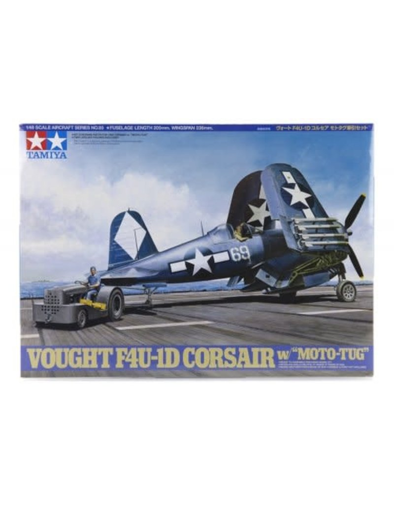 Tamiya Tamiya 1/48 Vought F4U-1D Corsair Fighter w/Moto Tug Scaled Plastic Model Kit