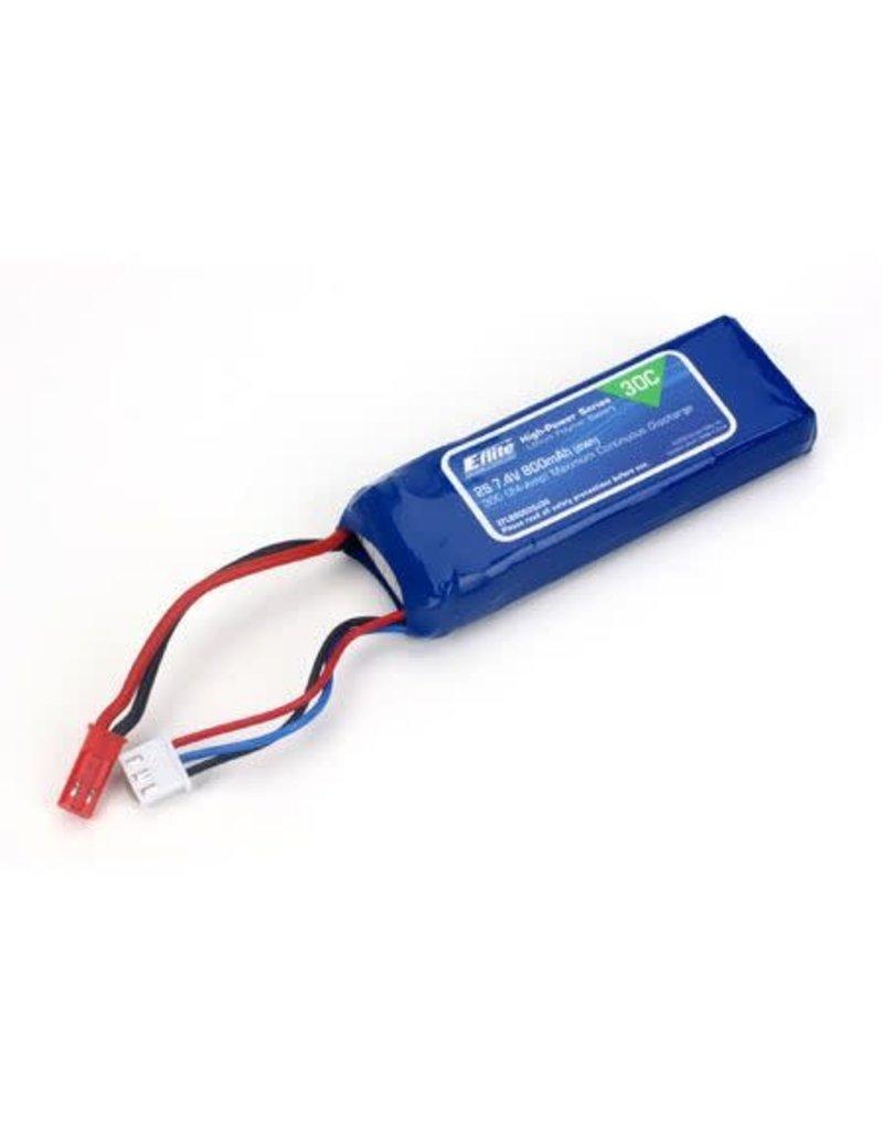 E-Flite E-Flite 800mAh2S 7.4V30C LiPo Battery, 18AWG JST