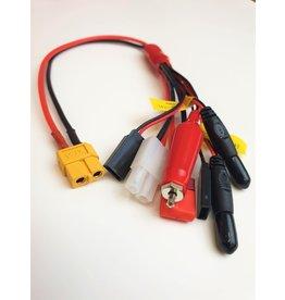Tornado RC XT60 plug to Glow/Tamiya/Deans/JR TX+RX and Futaba TX+RX 0.08 16AWG 30cm silicone wire