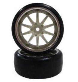 Correct model Correct Models 10 Spoke White/Chrome +Drift Tyres (pr) 1/10th