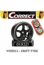 Correct model Correct Model 5 Spoke C63NB Black+Drift Tyres (pr) 1/10th