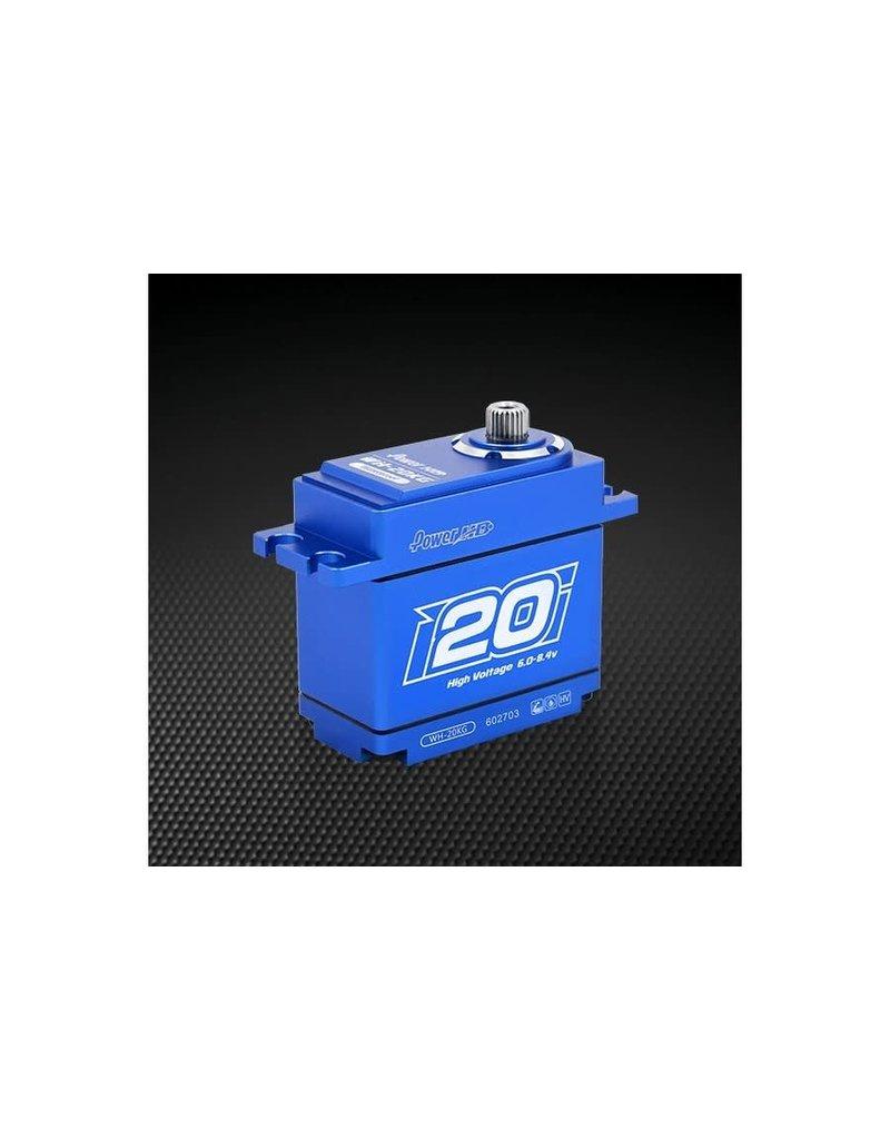 Power HD Power HD Blue Aluminium Standard Coreless 20kg 8.4v Steel Geared Waterproof Servo