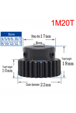 Hobby Creations Steel Pinion Gear With Step 1M20T 8mm shaft